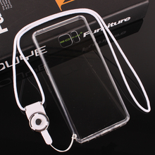 Cover Cell phone Case For Samsung Galaxy Note 3 4 5 7 Simple Transparent with Dust plug Lanyard Soft edge Side Hard Back Shell
