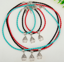 New 10 Set Fashion Jewelry Charms Retro Silver Ice Cream Cake Pendants Multicolor Braided Rope Necklace&Bracelets Sets DIY D523