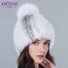 Real mink fur hats for winter women fur cap with fox fur pom pom top 2017 new sale high quality luxury female knitted beanies(China)