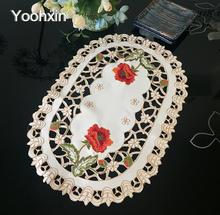 New satin lace table place mat cloth embroidery placemat pad pan glass coaster dining tea cup doily drink pot mug holder kitchen(China)