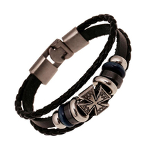 Multilayer Leather Woven Unisex Women Men ID Bracelets Punk Vintage Cross Studded Charm Bangles Wristband Cuff Jewelry(China)