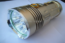 SKYRAY High Power 9500 Lumen 7x CREE XM-L T6 rechargeable battery LED Flashlight Torch Light 70W Lamp gold
