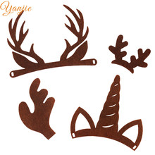 20pcs/lot Felt Deer Antlers For Girls And Kid DIY Christmas Hair Bow Headband Felt Uincorn Horn Party Hair Accessories(China)