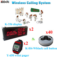 Waiter Calling System CE Passed 433.92MHZ Home Care Pager ( 2 display 2 wrist watch 40 call button)(China)