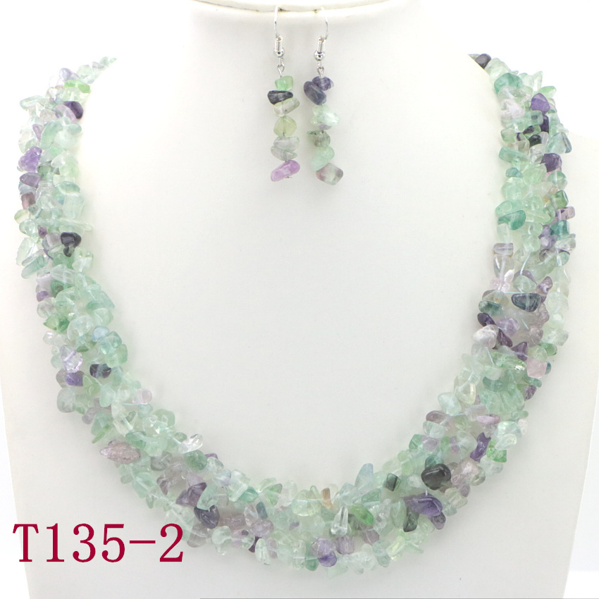 2 Natural Gravel Necklace sister necklace women necklace ladies necklaces family necklace (15)