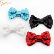 "60pcs/lot 32 colors Chic European 4"" Sequins Bow Without Clip Hot-sale Kids Girl DIY Hair Accesories High-quality"