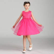 2017 New Summer Costume Formal Party Girl Dress Embroidery Flower Pattern Children Evening Dresses Baby Girl Party Tutu Dresses
