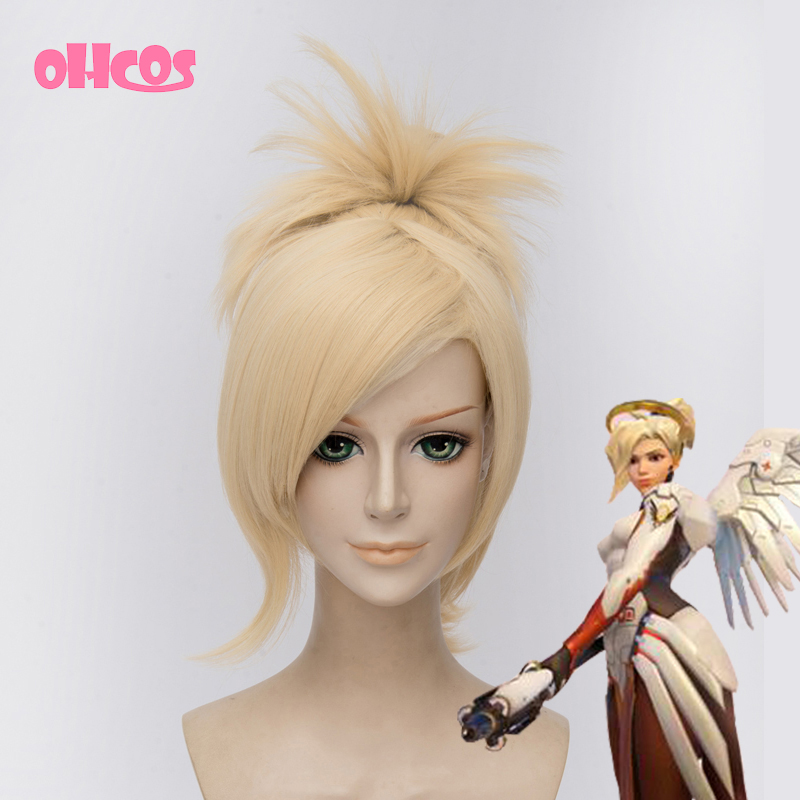 OHCOS Hot Game Overwatch Mercy Synthetic Hair Cosplay Wig<br><br>Aliexpress