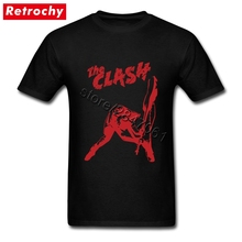 2017 High Quality Black the clash London Calling T-Shirt for Men Cool Rock Band Shirts Short Sleeve Leisure T Shirt Rock Apparel(China)