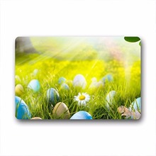 "Custom Happy Easter Colorful Eggs Coco Coir Doormat 23.6""x15.7""(China)"