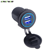 Onever Universal Car Charger USB Vehicle DC12V-32V Waterproof Dual USB Charger 2 Port Power Socket 5V 2.1A/1A Cigarette Lighter