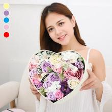 Box Bathing Soap Flower Gift Heart Shaped Rose Bathing Soap Wedding Party Gift Valentine's Day Flower Present 35(China)