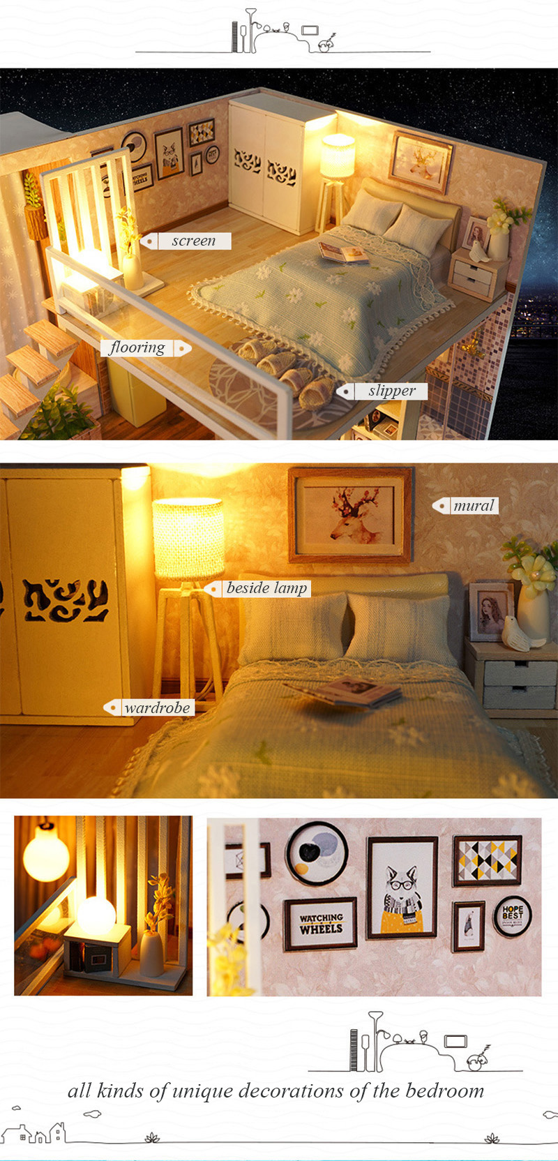 Wooden Miniature DIY Doll House Toy Assemble Kits 3D Miniature Dollhouse Toys With Furniture Lights for Birthday Gift L020 - Waiting Time (11)