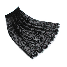 Spring and summer hollow out gauze lace trasparant half slip all match basic long underskirt white black(China)
