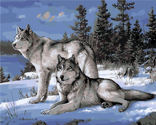 DIY digital painting painters snow Wolf sitting room unique gift of hand-painted wall art images(China)