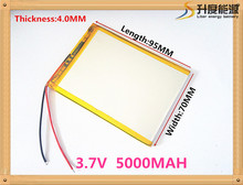"407095 3.7V 5000mah Lithium polymer battery For 7"" Tablet Q88 A13, U25GT,Freeander PD10 3G,PD20 3G TV MTK6575,MTK6577(China)"