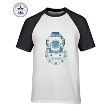 2017 Hot sale Mix Color Fashion Casual Classal Comfort Deep Sea Diver Helmet Illustration funny t shirt for men short sleeve(China)