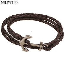 NIUYITID Navy Anchor Bracelet 42CM Brown PU Leather Bracelet Men Accessories Charm Jewelry Wholesale Price
