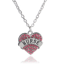2016 New Fashion Engraved NURSE Pendant Full Crystal Mini Heart Necklace For Women Charm Jewelry Gift Wholesale/Retail 3 Colors