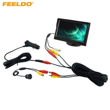 "FEELDO Car Cigarette Lighter Power RCA Video Cable 5"" Stand-alone Monitor CCD Rear View Camera Kits Fast Quick Install #2229"