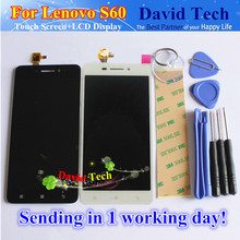 "High Quality New Touch Screen Digitizer + LCD Display Replacement For Lenovo S60 S60W Cell Phone 5.0"" Black White Free Shipping"