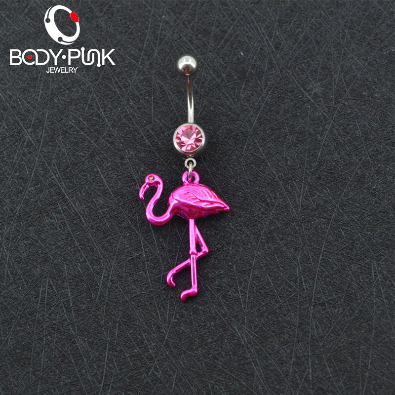 BODY PUNK Pink Flamingo Navel Ring 316L Surgical Steel Piercing Belly Button Rings Beautiful Navel Piercing Sex Body Jewelry (4)