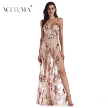 Buy Voobuyla Party Club Elegant Dress 2018 Women Strap Backless Mesh Dress Vestidos Womens Sexy Dresses Sequined Evening Maxi Dress for $18.18 in AliExpress store