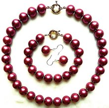 Hand knotted 14mm black red purple sea shell pearl necklace bracelet earrings set fashion jewellery #4