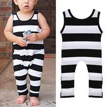 2017 Cute New Style Toddler Rompers Unisex Baby Boys Girls Sleeveless Striped Romper Playsuit Round Collar Baby Jumpsuit F1(China)
