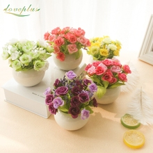 Loveplus High Quality Diamond Rose Artificial Flower Wedding Home Party Decoration Spring/autumn silk tea rose vase table decor(China)