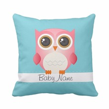 Personalized Baby Birth Stats Pink Owl Throw Pillow Cover Home Decorative Cushion Cover For Baby Boy and Girl Soft Pillowcase(China)