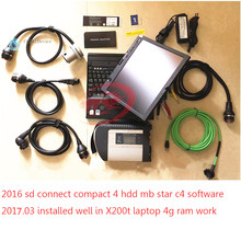 Star Diagnosis MB Star C4 SD Connect Compact 4 with notebook x200t and Superior 2017.07V 160GB HDD with C4 Xentry New wireless