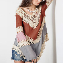 2017 Top Fashion Women Boho V-Neck Long Sleeve Hollow Crochet Bikini Beach Cover Up Casual Patchwork Loose Tops Orange Blue Gray