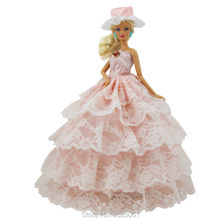 Handmade Fashion Dress Doll Clothes Wedding Party Princess Lace Gown Hat Strapless Costume Dollhouse Accessories For Barbie Doll(China)