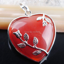 Free shipping Natural Red Ag-ate Gem Stone Heart Reiki Chakra Pendant Bead Jewelry 1pcs TN2283