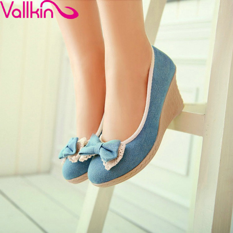 VALLKIN Bowtie Wedges High Heels Solid Round Toe Ladies Sweet Style Women Shoes Soft Leather Woman Pumps Summer Size 34-39<br><br>Aliexpress