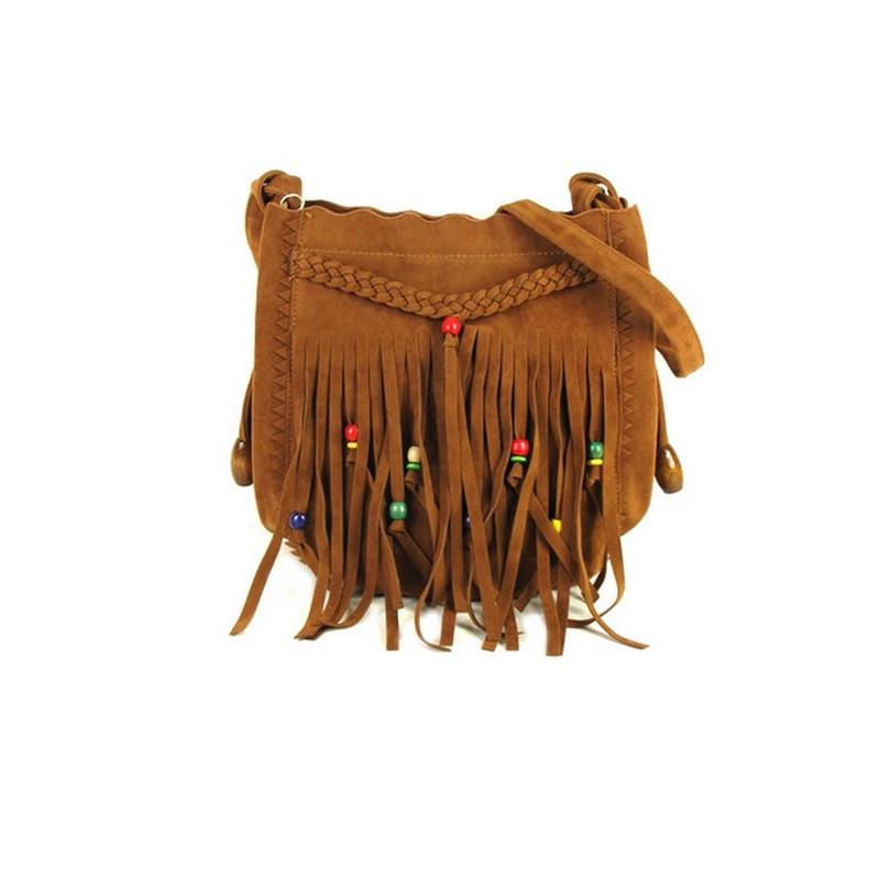 Nubuck Shoulder Bag Fringe Tassel Boho Chic Hippie Gypsy Tribal Bohemian Ibiza Bucket Bag<br>