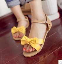 New Women's Sweet flat Summer Basic Beach Comfy Bohemia  sandals bow Tie soft gladiator Orange Yellow White Red