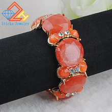 New Arrival Candy Color Fruit Jelly Resin Facet and Gold Decoration Beads Stretch Bracelet(China)