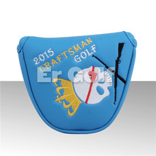 Craftsman Blue Skull Mallet Putter Cover Headcover Magnetic Closure Golf Mallet Cover(China)
