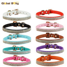 Special Offer PU Leather Rhinestone Pet Dog Puppy Necklace Collar Supplier(China)