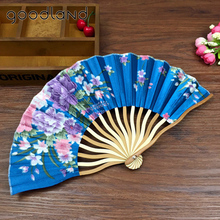 Free Shipping 1pcs Dancing Wedding Party Decor Fan Chinese Japanese Flower Blossoms Folding Carved Hand Fan with Tassel for Gift(China)