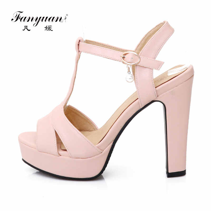 Detail Feedback Questions about Fanyuan 2018 Hot Summer Women Sandals Super High  Heels Platform T Strap Crystal Party Shoes Square Heels Ladies Sandal Plus  ... a2c70283e826