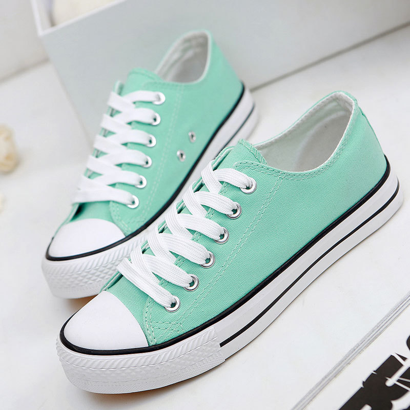Fashion Spring Summer Solid Candy Color Low Flat Canvas Shoes Women New 2018 Breathable Casual Shoes Woman Trainers