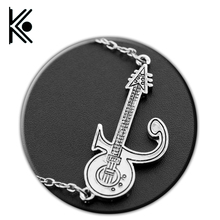 Prince Love Symbol Punk Guitar Pendant,the Purple Rain Men Women Accessories Gold and Silver Memory of Prince Necklace