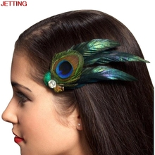 JETTING-New Girls Headwear Peacock Feather Hair Accessories Hair Clip Pin for Kids Ladies Headband girls Heawear