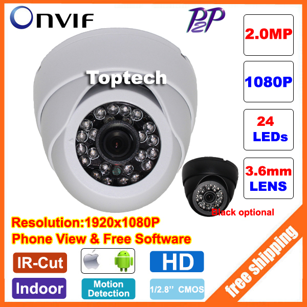 2.0 MP Megapixel 1920*1080P Dome CCTV IP Camera ONVIF 2.0 Indoor IR Night Vision surveillance security network cam P2P(China (Mainland))