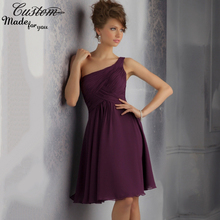 Cheap Customize One Shoulder Dress to Wedding Party Purple Chiffon Plum Knee Length Bridesmaid Dresses Short 2016 Cheap