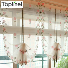 Hot sale floral tulle for windows in sheer curtains for living room kitchen finished shade embroidered volie curtain fabric