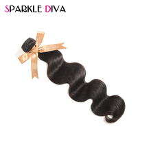 Sparkle Diva Hair Brazilian Body Wave Hair Weave Bundles 8-28Inch Non-Remy Human Hair Bundles Natural Color Hair Extensions 1PC